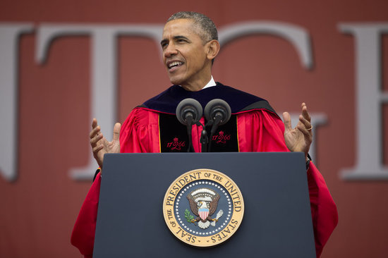 Obama Goes After Trump in Rutgers Commencement Address