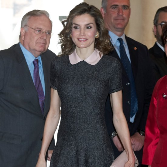 Queen Letizia Wearing a Peter Pan Collar Dress May 2016