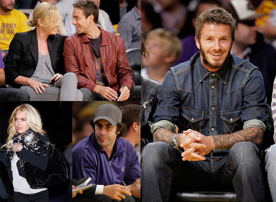 Photos of Lindsay Lohan, Heather Locklear, Charlize Theron, David Beckham, Stuart Townsend at the Lakers Game