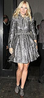 Photo of Gwyneth Paltrow Wearing Silver Metallic Alice and Olivia Jacket at Valentino Event in NYC