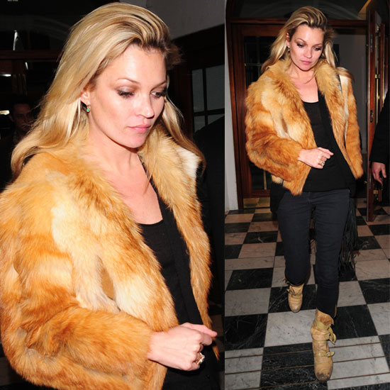 Kate Moss Wears Blonde Fur Jacket and Tan Buckle Boots