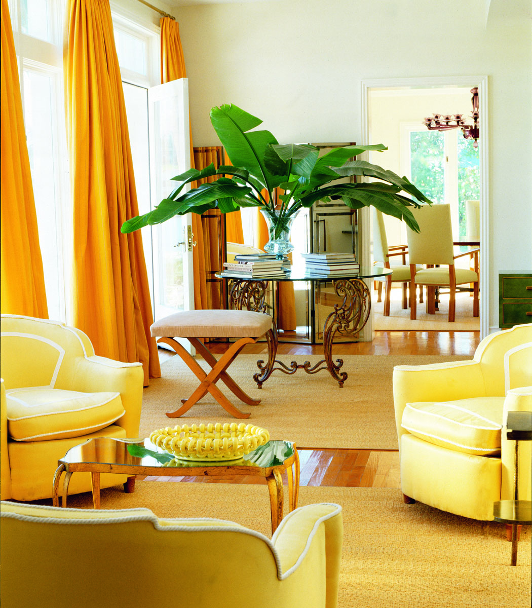 Floor To Ceiling Lemon Yellow Curtains Add Drama To The Living Room Style And Substance