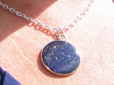Starry Starry Night Nail Polish Necklace ($30)<br /> Made with Essie&#039;s Starry Starry Night Nail Polish.