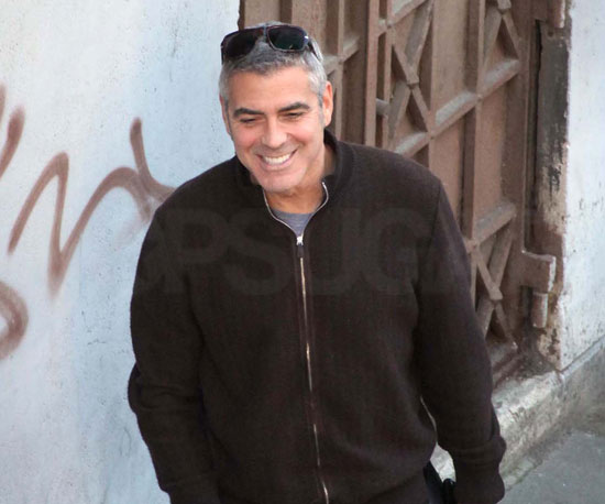 Slide Photo of George Clooney on The American Set in Italy