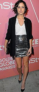 90210 Actress Jessica Stroup Wears Silver Metallic Miniskirt and Blazer to Golden Globes Salute to Young Hollywood Party