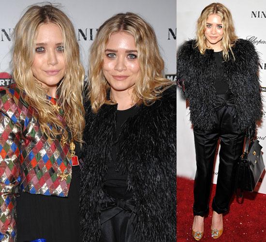 Photo of Ashley Olsen in Black Fur Coat at Nine Premiere in NYC