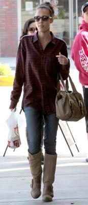 Jessica Alba Shopping in LA Wearing Plaid
