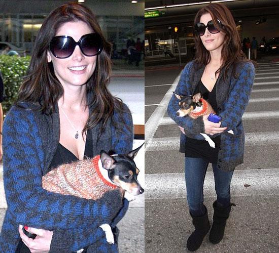 Photos of Ashley Greene Wearing Blue Houndstooth Cardigan at LAX