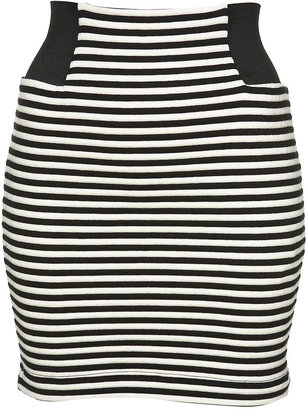 The Look For Less: Pleasure Doing Business Striped Banded Skirt