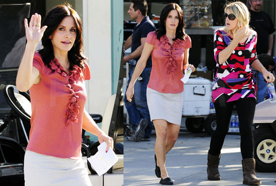 Photos of Courteney Cox and Busy Phillips Filming Cougar Town as Its Second Season Is Announced