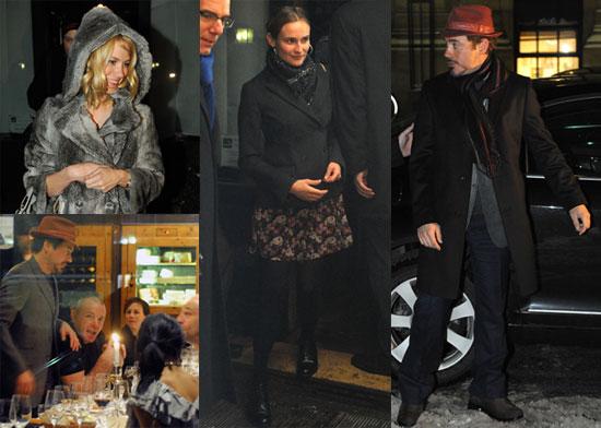 Photos of Robert Downey Jr, Diane Kruger, Guy Ritchie, January Jones, and Joel Silver Having Dinner in Berlin