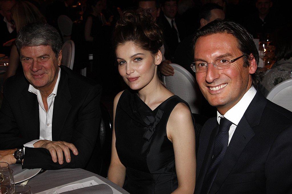Louis Vuitton chairman Yves Carcelle, Laetitia Casta, Louis Vuitton head of marketing Pietro Beccari