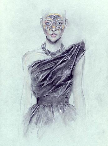 Illustrator Cedric Rivrain Bandages Up Models, Designer Dresses