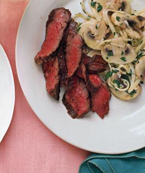 Fast & Easy Gourmet Recipe For Seared Skirt Steak With Mushroom Salad