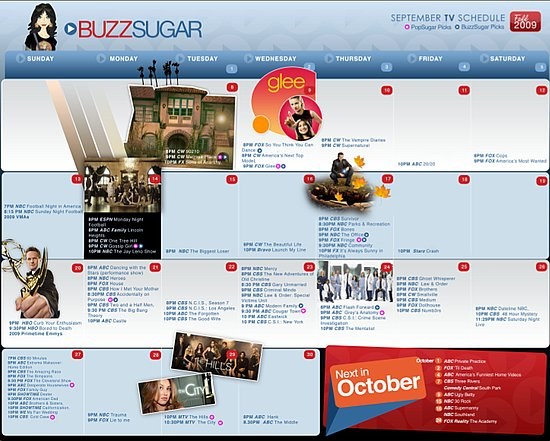 Printable Calendar for 2009 Fall TV Shows and Premiere Dates