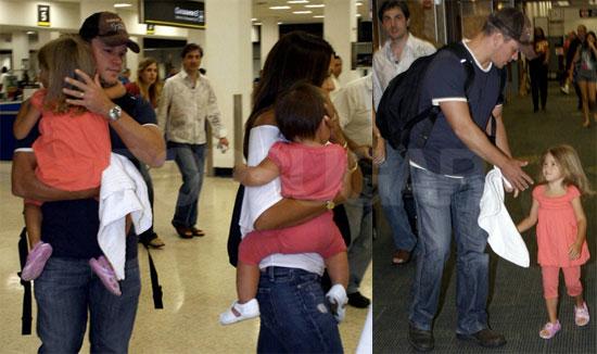 Photos of Matt Damon, Luciana Barroso, Gia Damon, Isabella Damon at the Miami Airport
