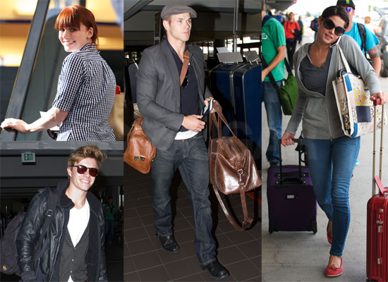 Photos of Nikki Reed, Bryce Dallas Howard, Kellan Lutz, Elizabeth Reaser, Ashley Greene, Xavier Samuel Flying to Film Eclipse