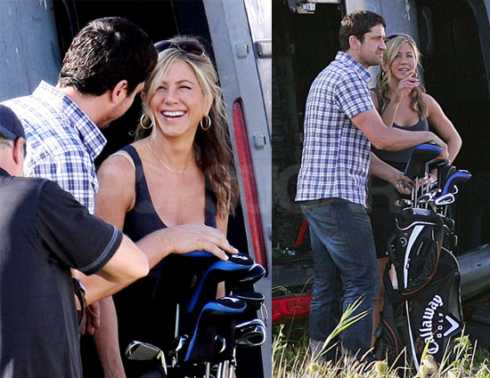 Photos of Jennifer Aniston and Gerard Butler Filming The Bounty in NYC, Jen Might Guest Star on Cougar Town