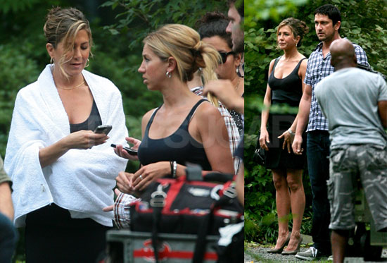 Photos of Jennifer Aniston and Gerard Butler Looking Wet on the NYC Set of The Bounty