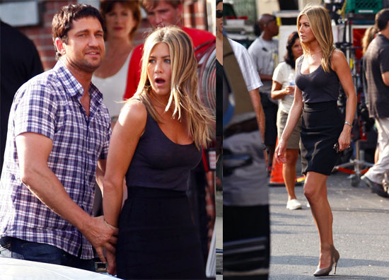 Photos of Jennifer Aniston, Gerard Butler Filming The Bounty Amid Reports Jen Won't Date Normal Guy, Holds Hands with Gerard