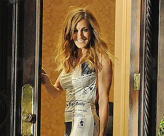 Slide Photo of Sarah Jessica Parker Wearing a Newspaper Dress on the Set of Sex and the City 2