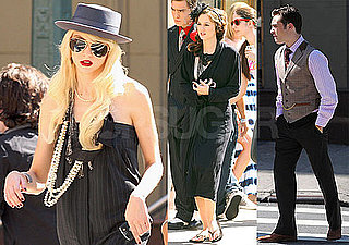 Photos of Leighton Meester, Ed Westwick, and Taylor Momsen Working on Gossip Girl in NYC