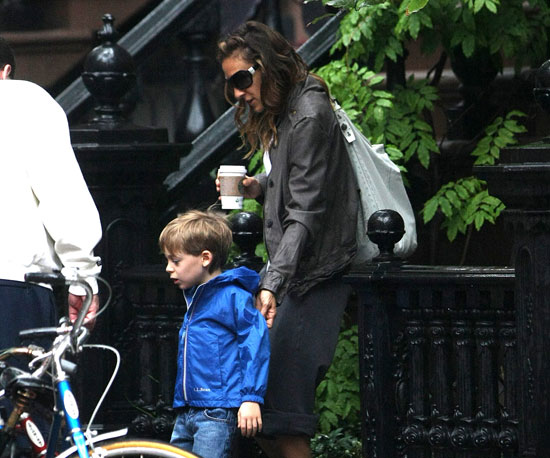 Slide Photo of SJP and James Wilkie Walking to School From Their House in NYC