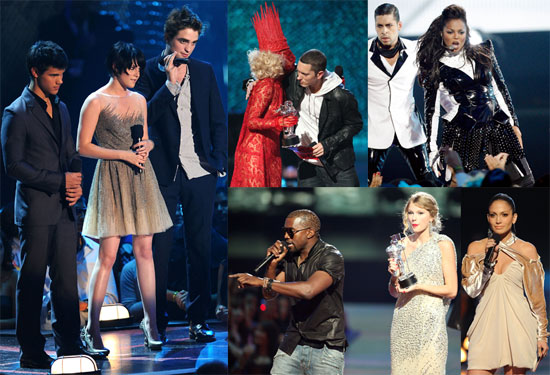 Photos of 2009 MTV VMAs Show Robert Pattinson, Kristen Stewart, Kanye West, Taylor Swift, Beyonce Knowles, Jay-Z, Russell Brand