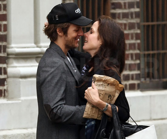 Slide Photo of Mary-Louise Parker and Charlie Mars Almost Kissing in NYC