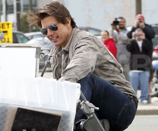 Slide Photo of Tom Cruise on the Hood of a Car Filming Wichita