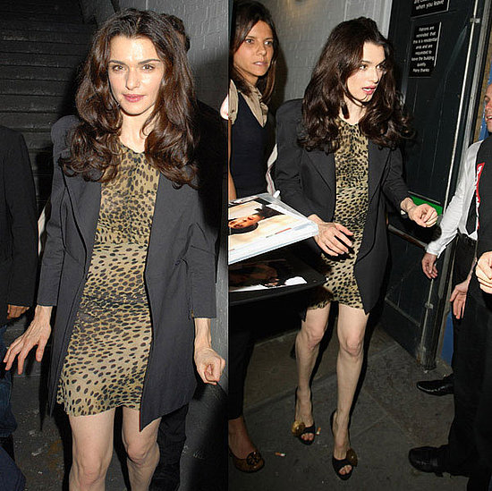 Rachel Weisz Spotted in London Wearing Animal Print Dress and Black Blazer