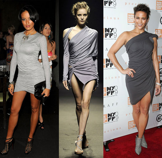 Selita Ebanks and Paula Patton in Gray Draped Minidresses