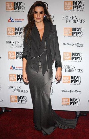 Penelope Cruz Attends Broken Embraces Premiere Wearing a Gray Silk Haider Ackermann Dress