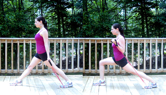 Band It: Bicep Curls With Forward Lunges