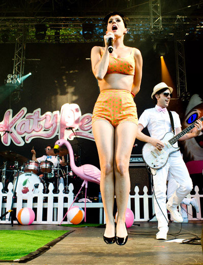 Katy Perry Jumps Onstage and Off