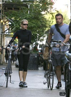 Naomi Watts and Liev Schreiber Riding Bikes in NYC