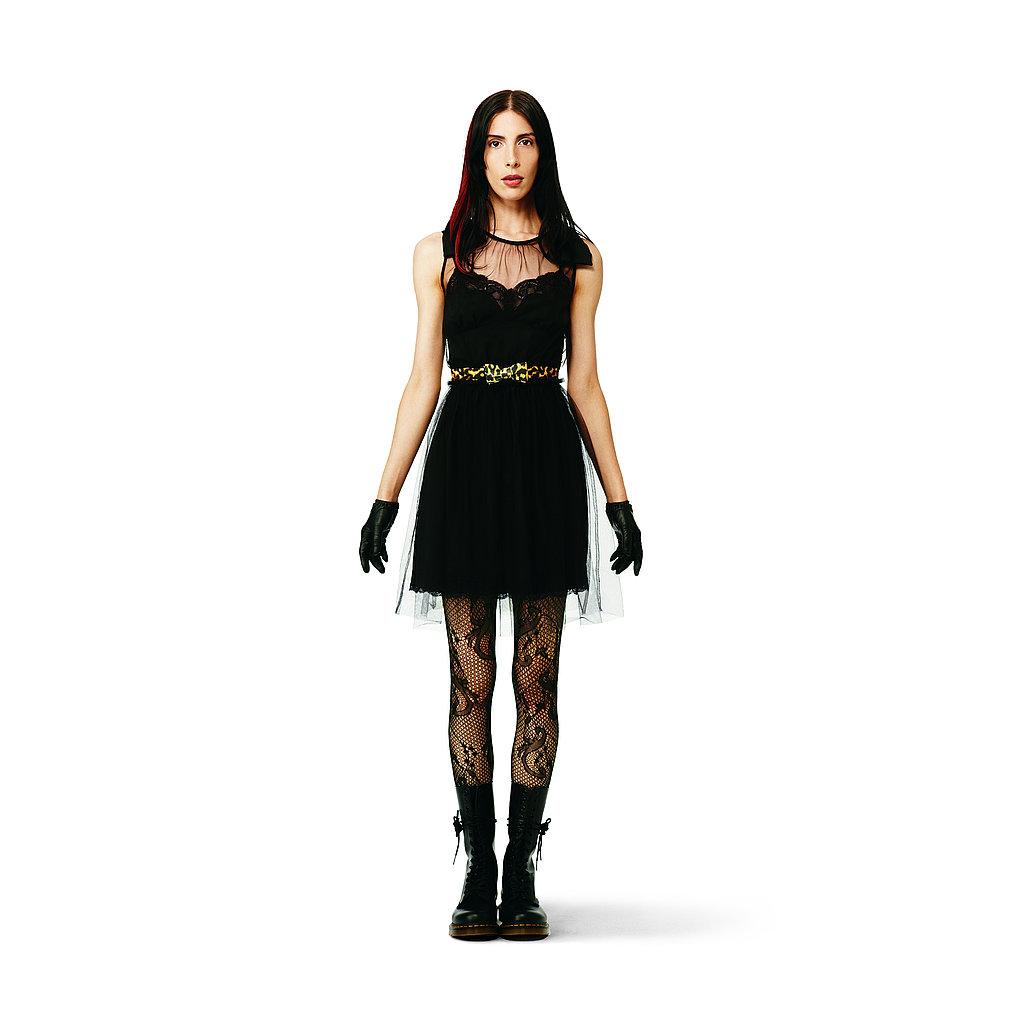 Slip Dress in black, $39.99 Bow Belt in yellow leopard, $12.99 Lace Tights in black, $12.99