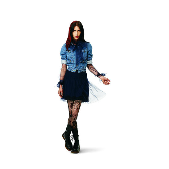 Denim Jacket, $39.99 Tulle Bow Top in navy, $24.99 Lace and Tulle Skirt in navy, $29.99 Lace Tights in black, $12.99
