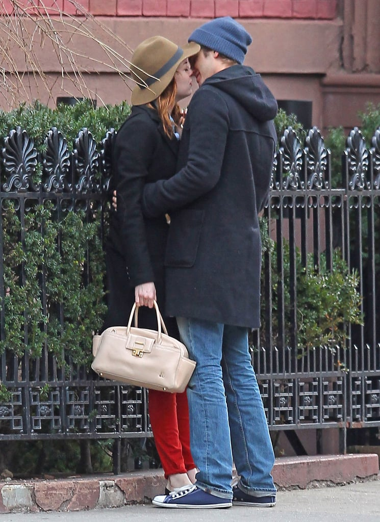 Andrew Garfield planted a kiss on Emma Stone on the streets of NYC in January 2012.