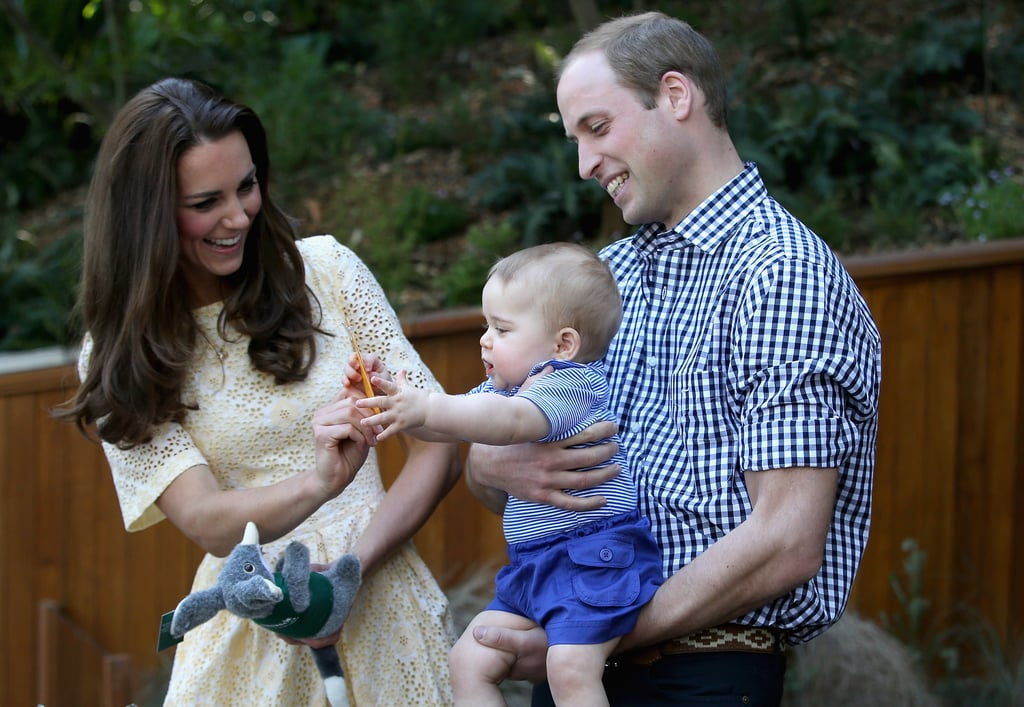 Prince William held on to Prince George while Kate Middleton played with him at the zoo in Sydney, Australia, in April 2014.