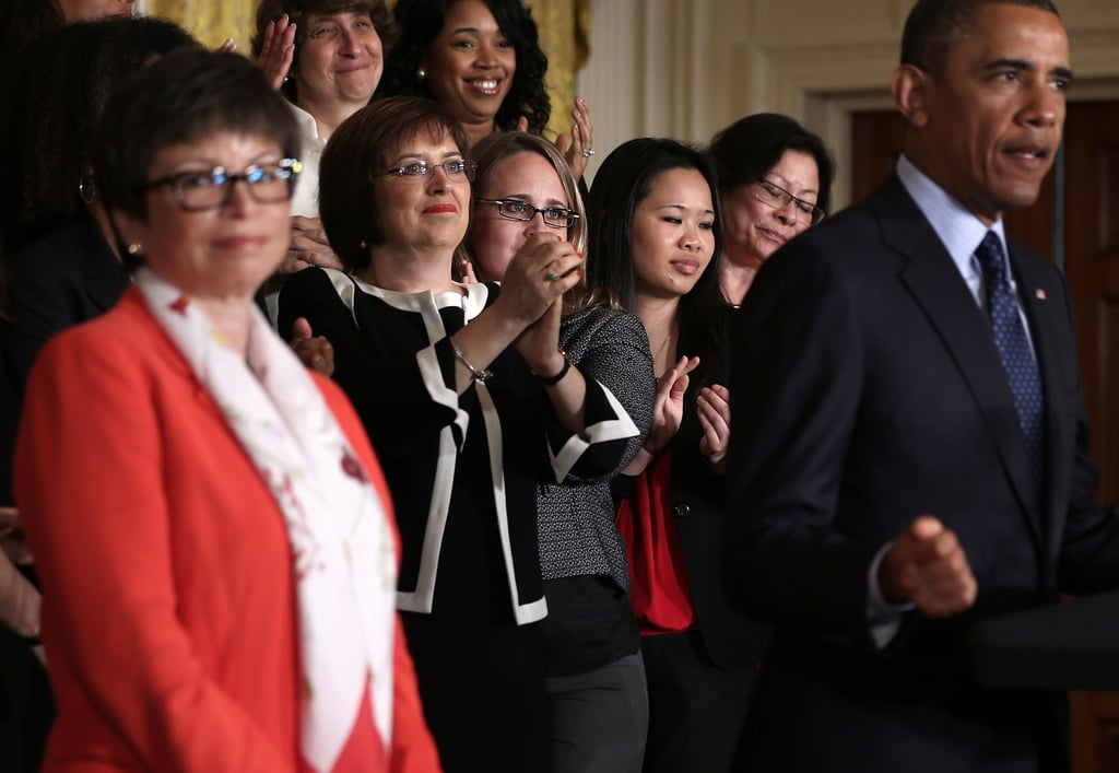 Supporters smiled as President Obama commemorated the Equal Pay Act.