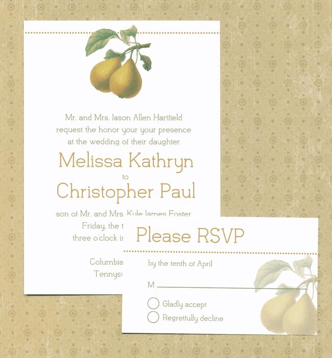 Pear Wedding Invitation