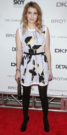 "Emma Roberts in Floral Miu Miu Dress at Screening of ""Brothers"""