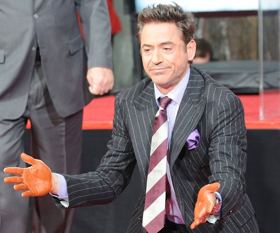 Slide PHoto of Robert Downey Jr Getting Hand Print on Walk of Fame