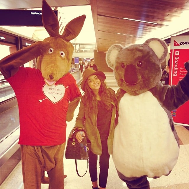 Sarah Hyland was greeted in Sydney by two crazy characters. Source: Instagram user therealsarahhyland