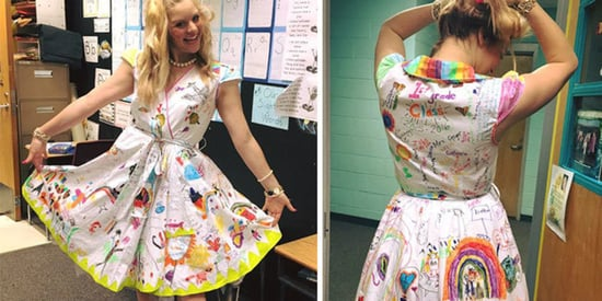 Teacher Had Class Doodle On Her Dress So She'd Never Forget Them