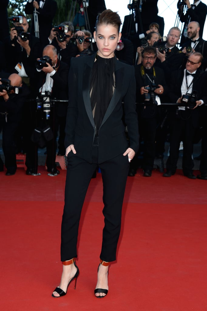 Barbara Palvin proved menswear could be just as head-turning as any gown in a black tux by Alexandre Vauthier and ankle-strap heels.