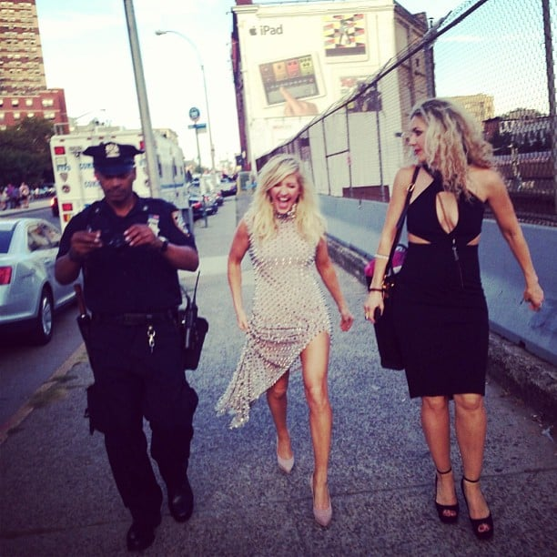 Ellie Goulding and a friend made their way to the Barclays Center with a police escort. Source: Instagram user elliegoulding