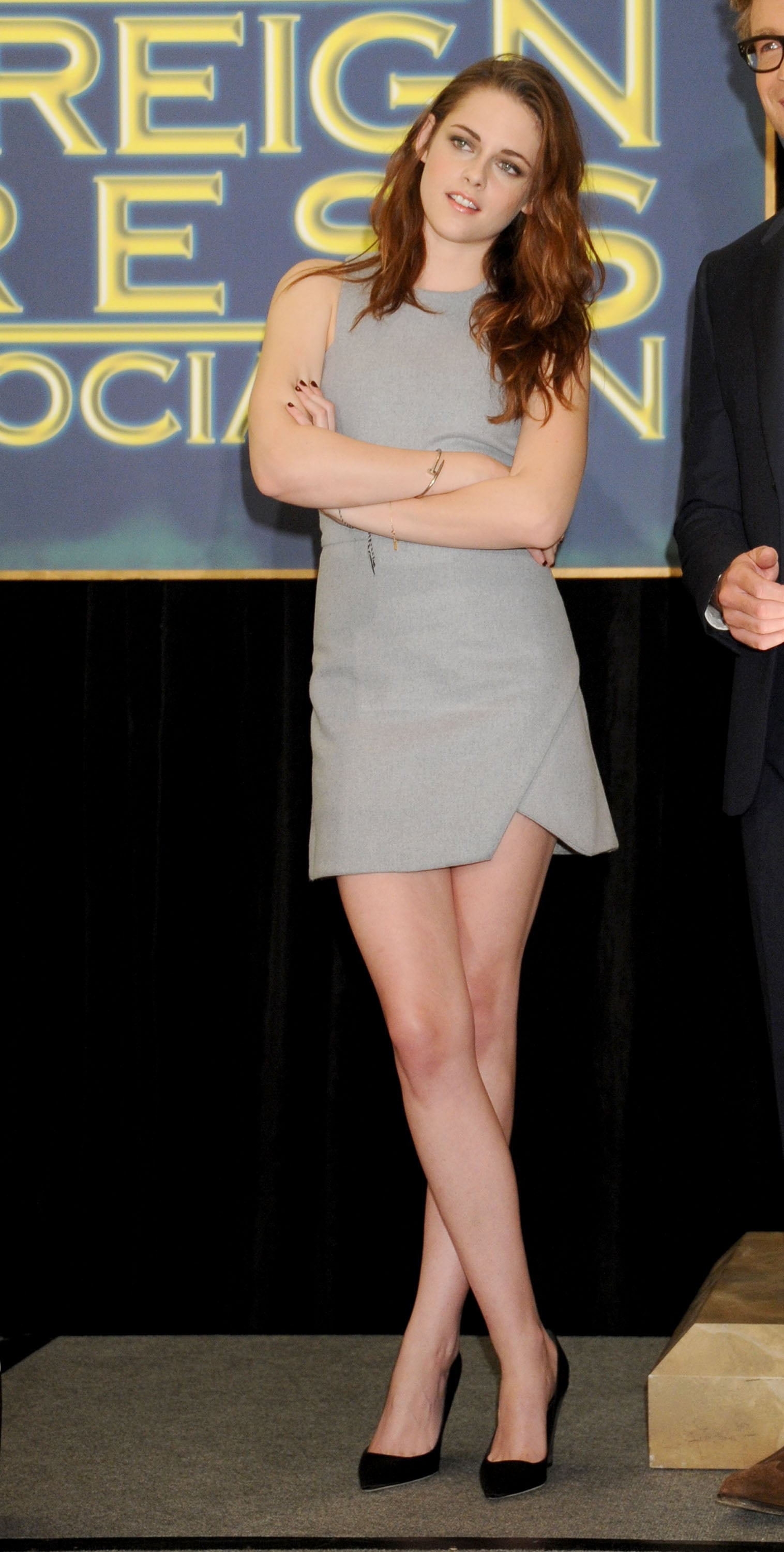 Stewart donned a simple gray shift dress during a 2012 press event in Beverly Hills.