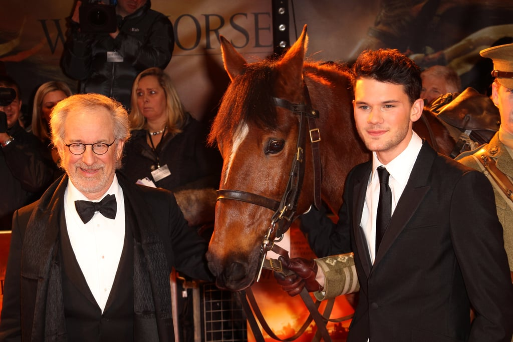 War Horse's Joey trots the red carpet with director Steven Spielberg and costar Jeremy Irvine in January 2012.